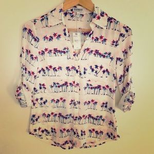 Express Portofino Palm Print Shirt